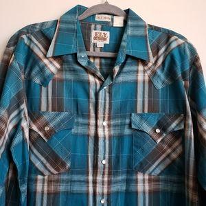 Ely Cattleman Plaid Western Button Up Shirt